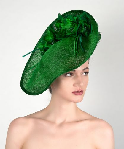 "Emerald Green Slice Saucer Hat Headpiece Silk Roses Flowers Hat ""Fern"""